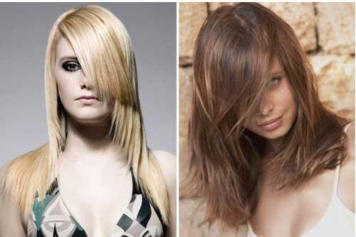 Девушки с косыми отросшими челками