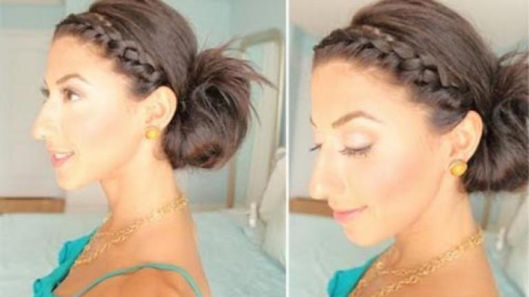 Как сделать косу на челке фото