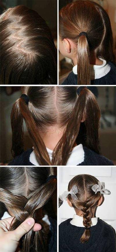 Процесс плетения косы из двух хвостов