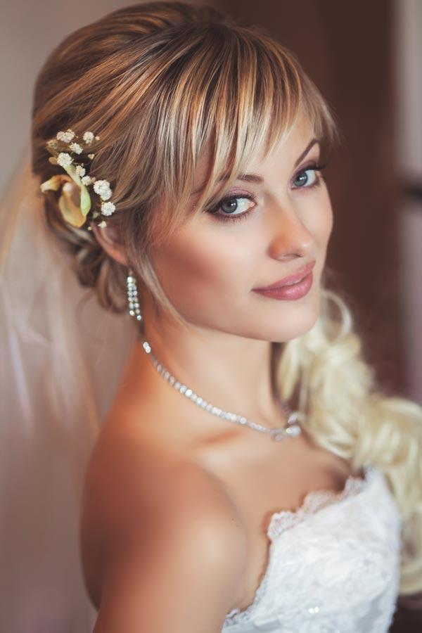 Свадебная укладка с челкой