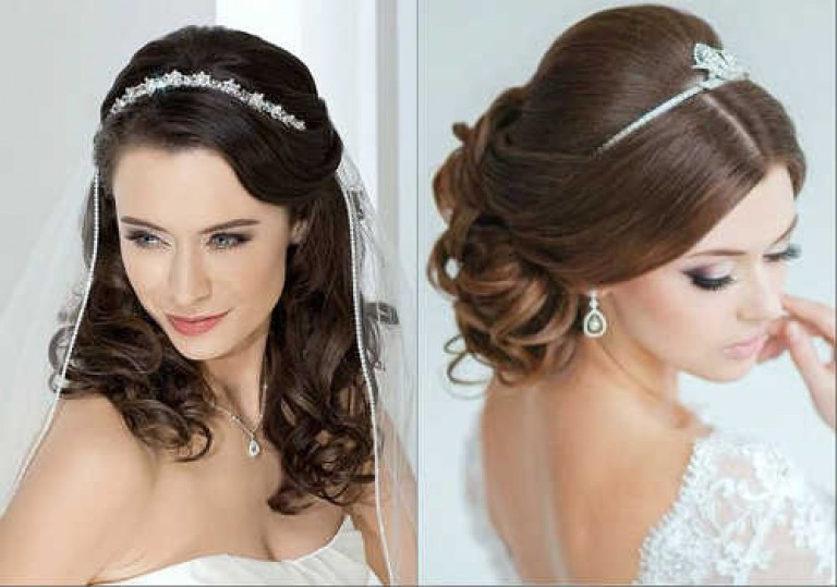 Свадебные причёски на средние волосы с диадемой