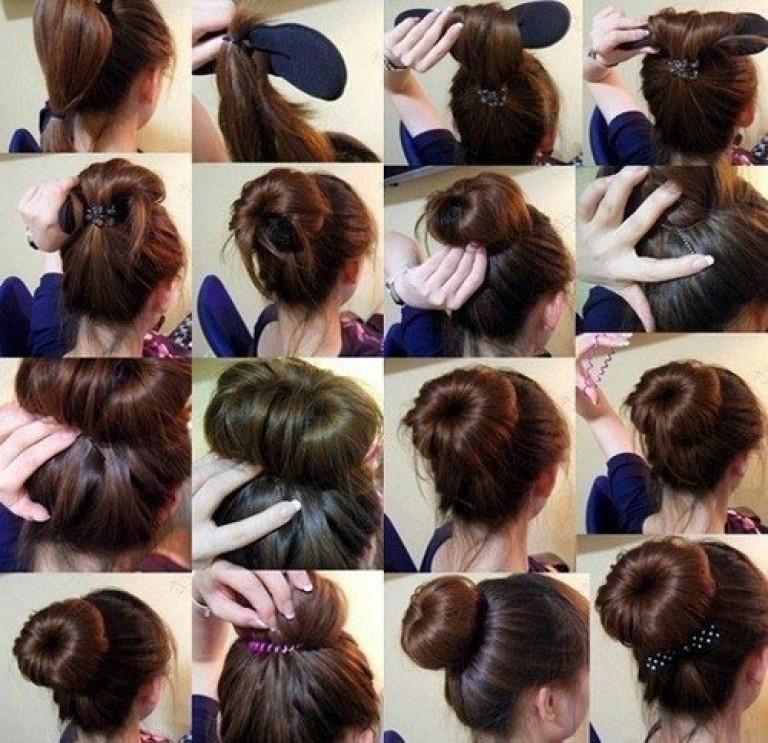 Как сделать шишку на голове на короткие волосы