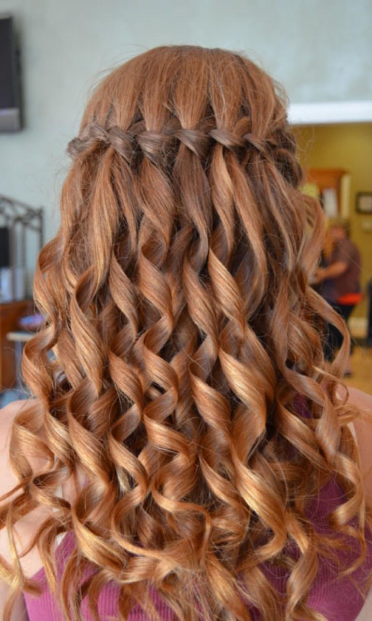 Причёски на длинные волосы для девочек водопад